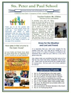 Newsletter Saints Peter and Paul Catholic School