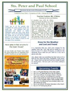 Newsletter Saints Peter and Paul Catholic School